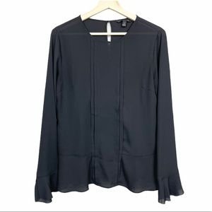 Banana Republic Black Bell Sleeve Blouse Shirt S